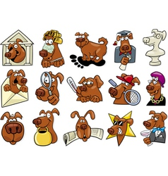 Cartoon dogs set vector