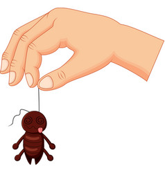 cartoon hand holding dead cockroach vector image