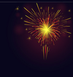 celebration golden red fireworks over night sky vector image