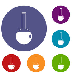 chemical beaker icons set vector image