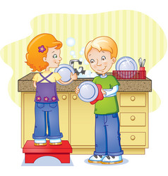 Children doing dishes vector