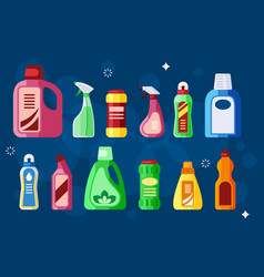 cleaning bottles sanitary chemical liquid vector image