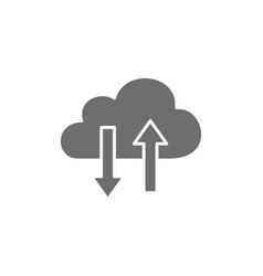 cloud computing data transfer grey icon vector image