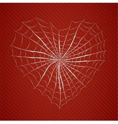 Cobweb heart on red background vector
