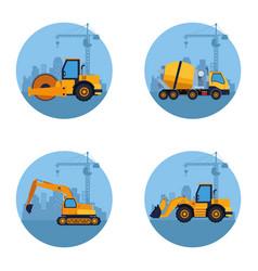 construction vehicles cartoon vector image