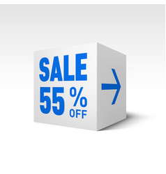 cube banner template fifty-five percent off vector image