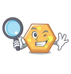 detective hexagon character cartoon style vector image