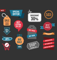 discount banners offer price coupons and labels vector image vector image