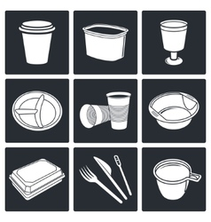 Disposable tableware Icons vector