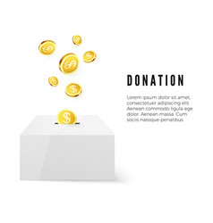 Donation donate money concept golden coin fund in vector