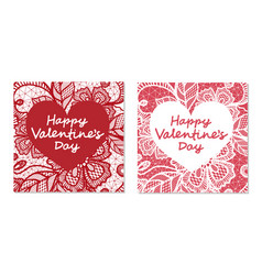 elegant card valentines day with flowers lace vector image