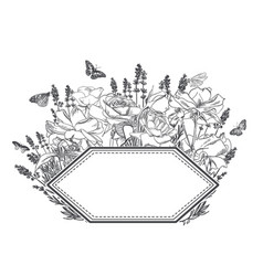 Engrave flowers frame sketch meadow design vector