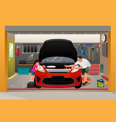 Father daughter repairing car vector