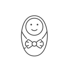Female newborn line outline icon vector
