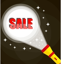 Flashlight and sale sign vector