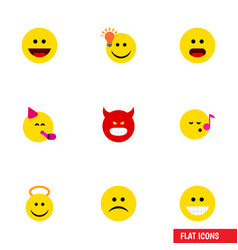 flat icon emoji set of angel party time emoticon vector image