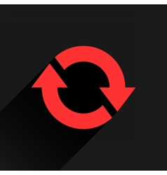 Flat red arrow icon rotation reset repeat sign vector