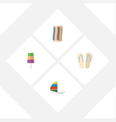 Flat season set of surfing wiper beach sandals vector