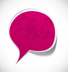 Fuchsia grunge speech label design vector