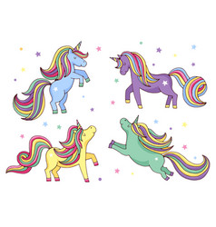 Funny cartoon unicorn set vector