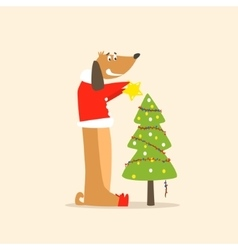 Funny Dog and Christmas Tree vector