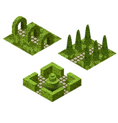 Garden isometric tile set asset with various vector