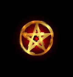 Gold pentagram occult symbol wicca sigil pentacle vector