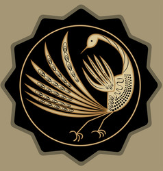 Golden mythic bird beautiful antique decoration vector