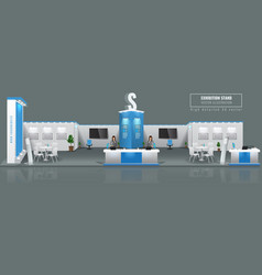 grand exhibition stand display mock up high vector image