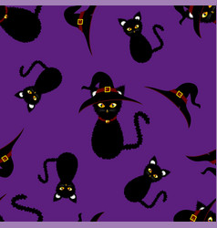 Halloween background - black cat witch vector