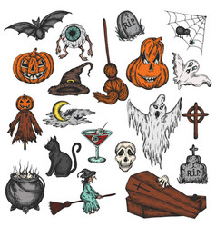 halloween holiday colorful cartoon horror set vector image