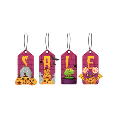halloween sale labels vector image