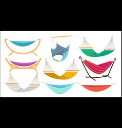 Hammock relax time in outdoor decorative colorful vector