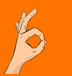 hand ok the concept of communication gestures vector image