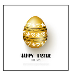 happy easter background with realistic golden egg vector image