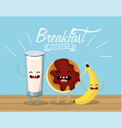 Happy milk glass with cookie and banana vector