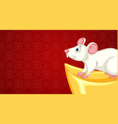 happy new year background design with rat and gold vector image