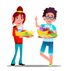 healthy food happy boy and girl with fruits vector image