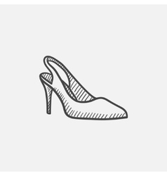 High heel shoe sketch icon vector image
