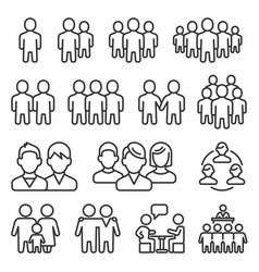 human group icons set on white background line vector image
