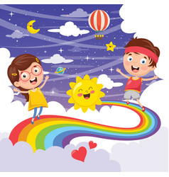 kids jumping on rainbow vector image