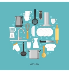 Kitchen round composition vector
