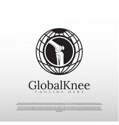 Knee bone logo with global concept vector
