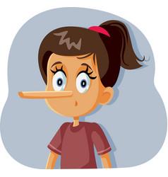 Liar girl with long nose cartoon vector