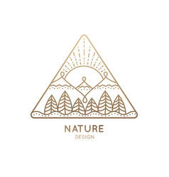 Logo nature on white background linear icon vector