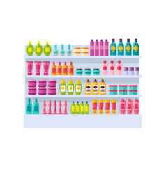 Lot of bottles on shelves vector