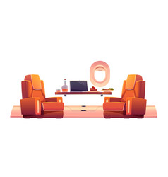 luxury interior private jet with armchairs vector image