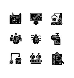 Manufacturing process black glyph icons set vector