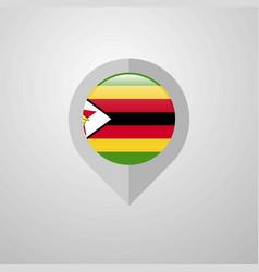 map navigation pointer with zimbabwe flag design vector image