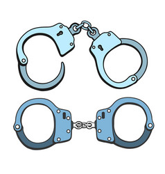 metal handcuffs vector image